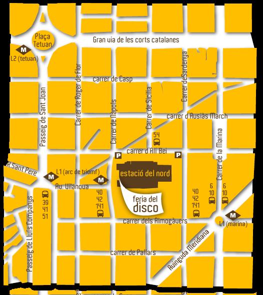 Mapa de como llegar a la Fira Disc Barcelona.